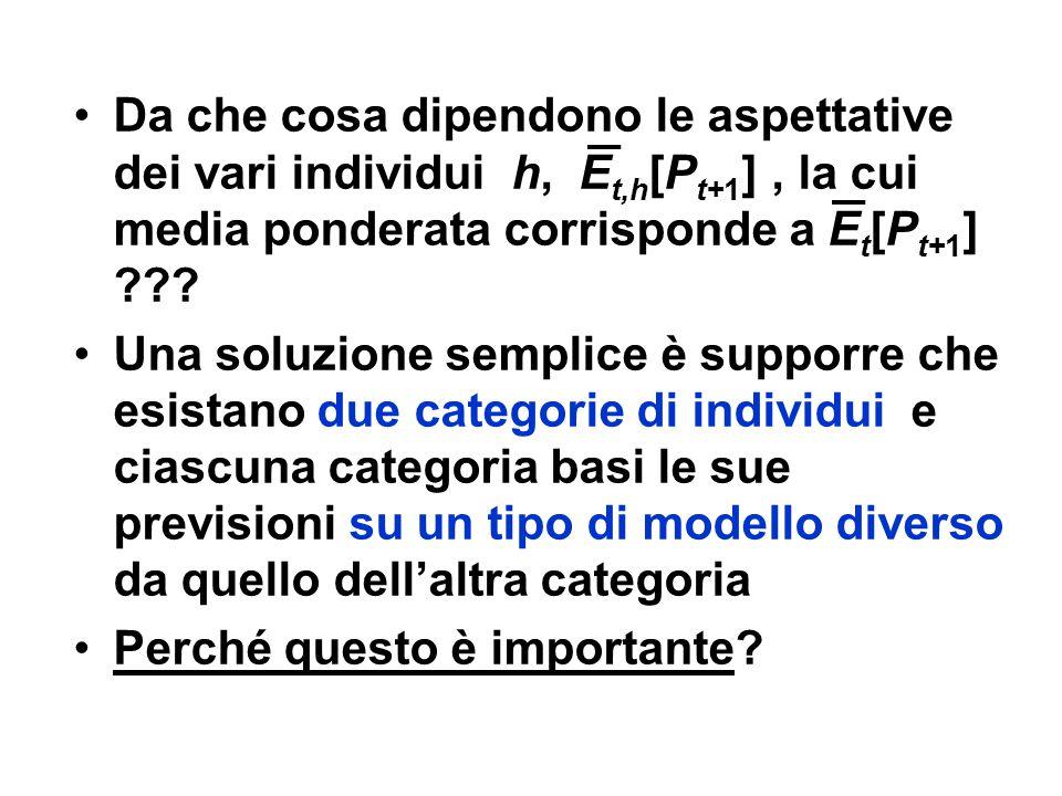 Da che cosa dipendono le aspettative dei vari individui h, Et,h[Pt+1] , la cui media ponderata corrisponde a Et[Pt+1]